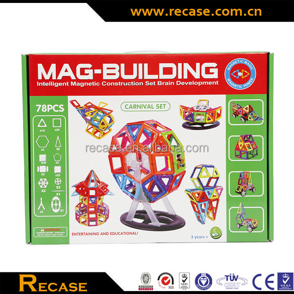 Kids magnet building tiles magnrtic 3d building plastic block game