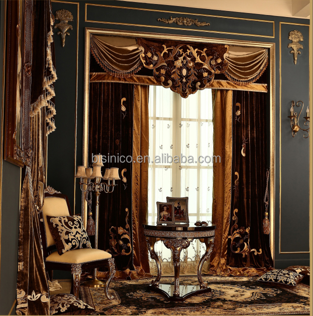 Latest Design Bronzing Blackout Valance Curtain, Antique Embroidery Finished Velvet Fabric Curtain