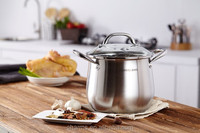 Belly shape capsuled bottom stainless steel cookware