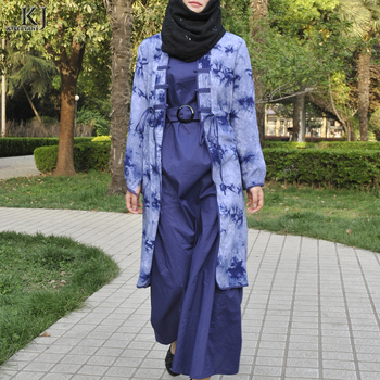 2018 Latest Abaya Fashion Designs loose front open printed women's muslim tunic tops for islamic women blue color chinese style