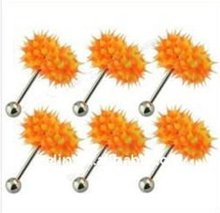 Orange Silicone vibrating tongue ring barbell,body piercing jewelry