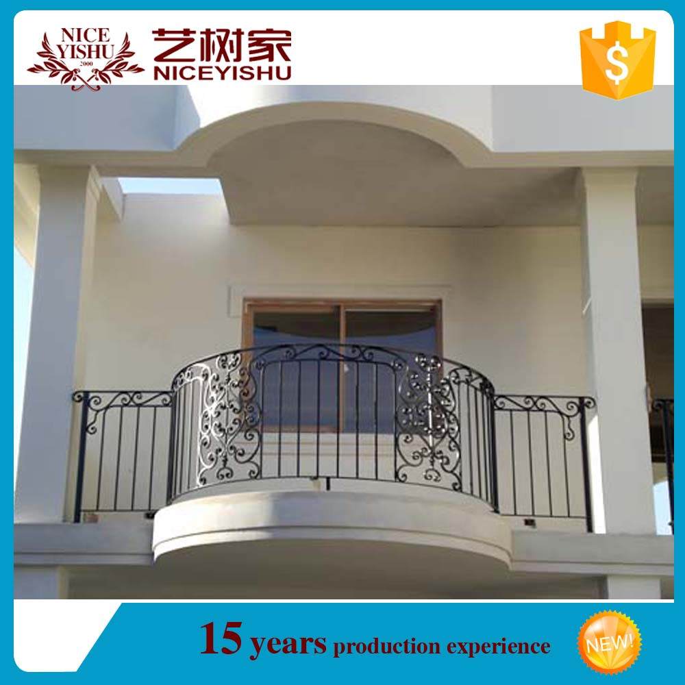 Italian style exterior new design modern curved wrought for Exterior balcony railing design