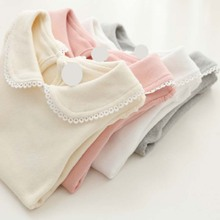 ca50002 long sleeve doll neck plain soft little girls tshirts wholesale