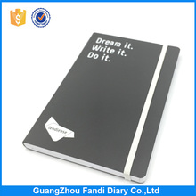 Custom black pu leather notebook with elastic band