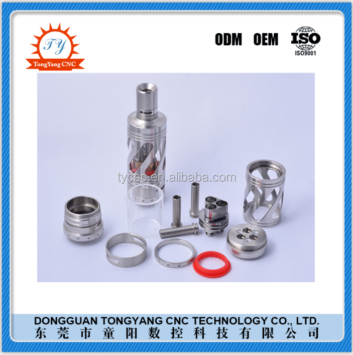 2016 China OEM factory cnc machining brass/stainless steel rebulidable tank atomizer clone