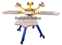 4 station 4 color manual rotary screen printing machine for textile printing