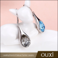 2017 Fashion Jewellery Women Earring Teardrop Shape Long Drop Blue Crystal Hoop Clip Earring