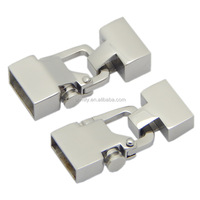 12X 4mm 12X 6mm Hole High Quality Stainless Steel Lock Clasps For DIY Leather Cord Bracelet Jewelry Making BXGC-165