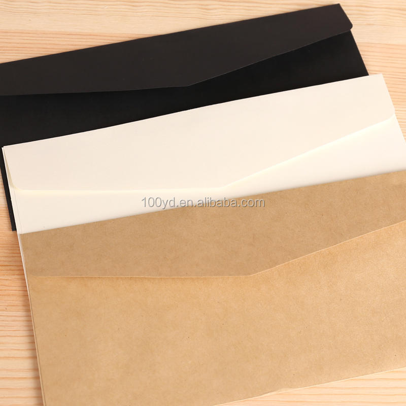 Free Shipping Paper Envelop Black Card/White Card/Kraft Paper Envelops Letter Paper Envelope For Business Invitation
