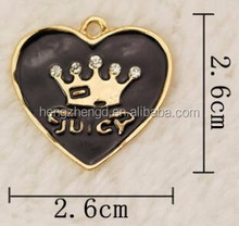 Factory direct hot sale gold plated with enamel and shiny rhinestone heart charm name design pendant