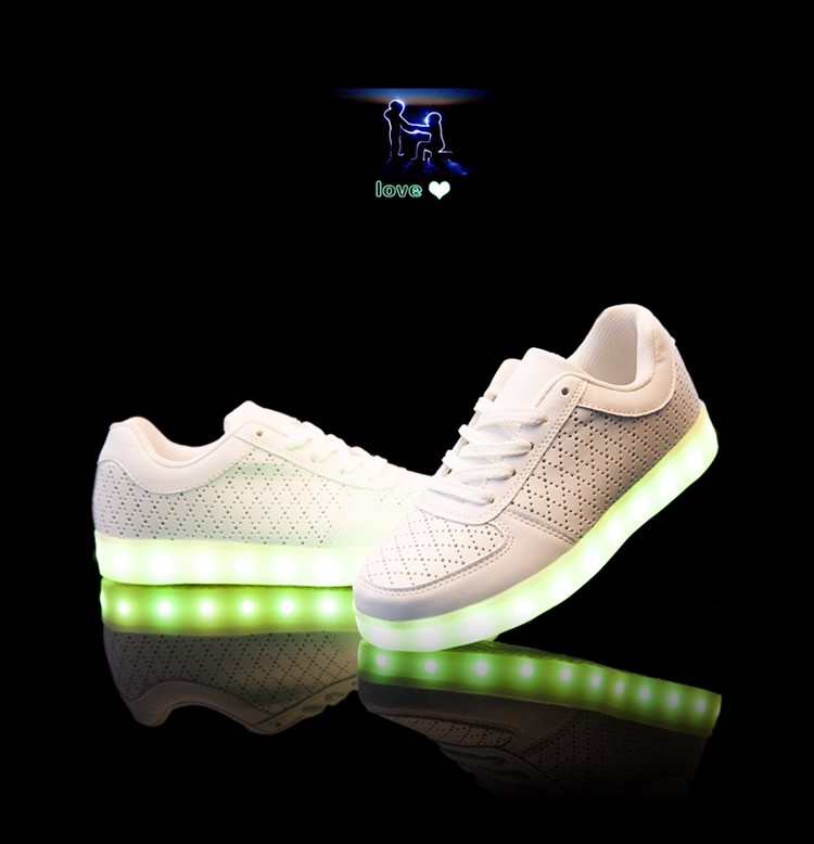 mens lighted shoes Gold silver shiny mirror colorful LED light casual shoes lovers luminous low jogging men shoes