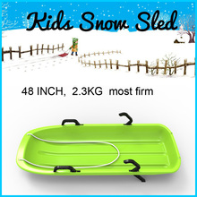 Snow Sleds Luge Classic Green Plastic Double Seat Sledge with Brake -Toboggan/ Steering handle brakes,seat, pull cord Toboggan