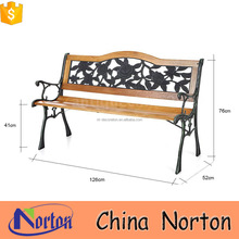 Norton new design black wood slats cast iron bench for sale NTIRH-002L