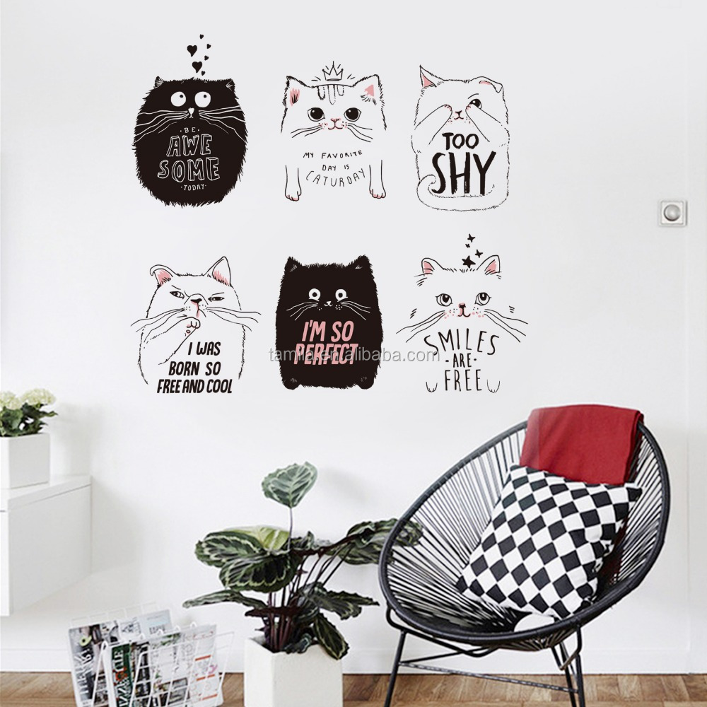 Cartoon Cats Designs Removable Wall Stickers Manufactory Self Adhesive Wall Decor