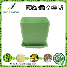 Bamboo fiber Material Eco-friendly recycled rice husk flower garden pot with tray