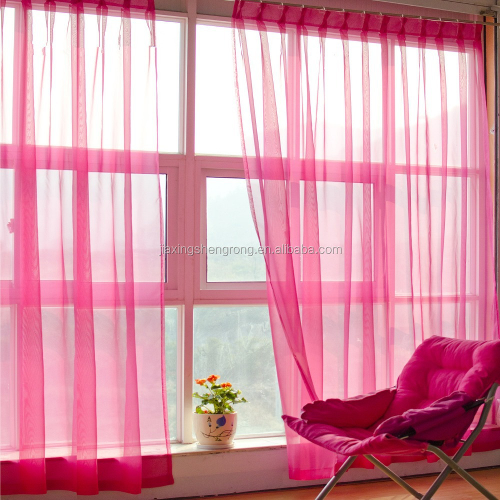 Fashion Design 100%Polyester Woven Window Decoration Organza Curtain