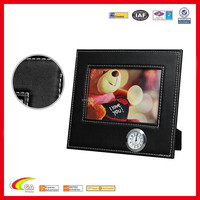 2015 new design dew leather black modern picture frame with alarm clock