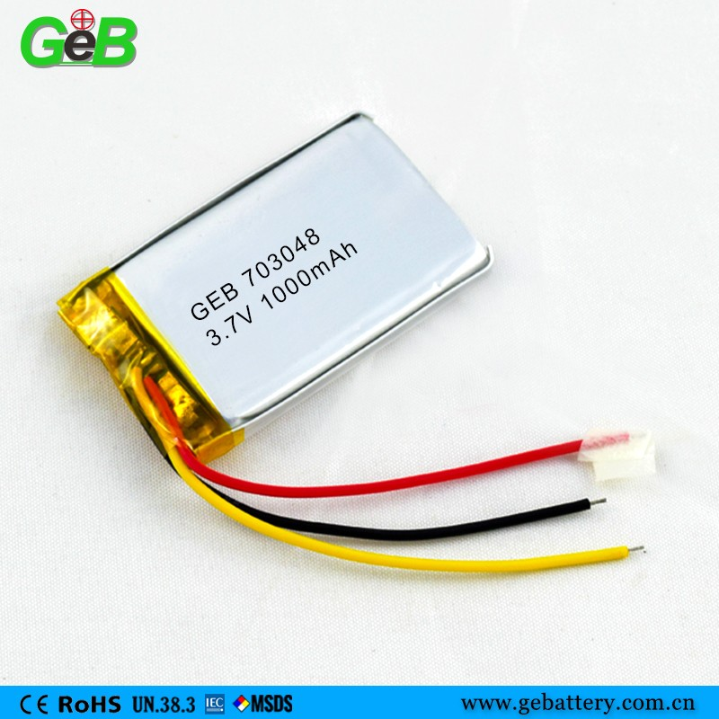 ISO9001 CE Approved Polymer Lithium Battery 703048 3.7v 1000mah