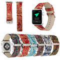 Chinese Style Silk Road Pattern Leather Band for Apple Watch 38mm 42mm