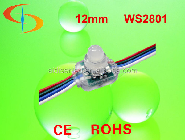12MM SQUARE LED pixel light with drive IC ws2801