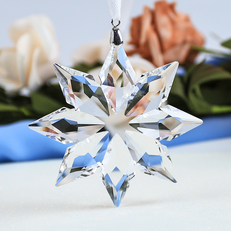 White Snow Flower Shape Glass <strong>Crystal</strong> for Girl's Gift Wedding Christmas Decoration