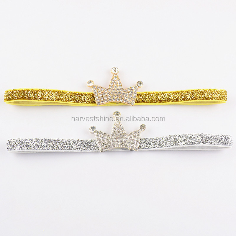 Latest Tiara Shiny Elastic Headband With Rhinestone,Rhinestone Elastic Crown Hairbands For Baby Girls