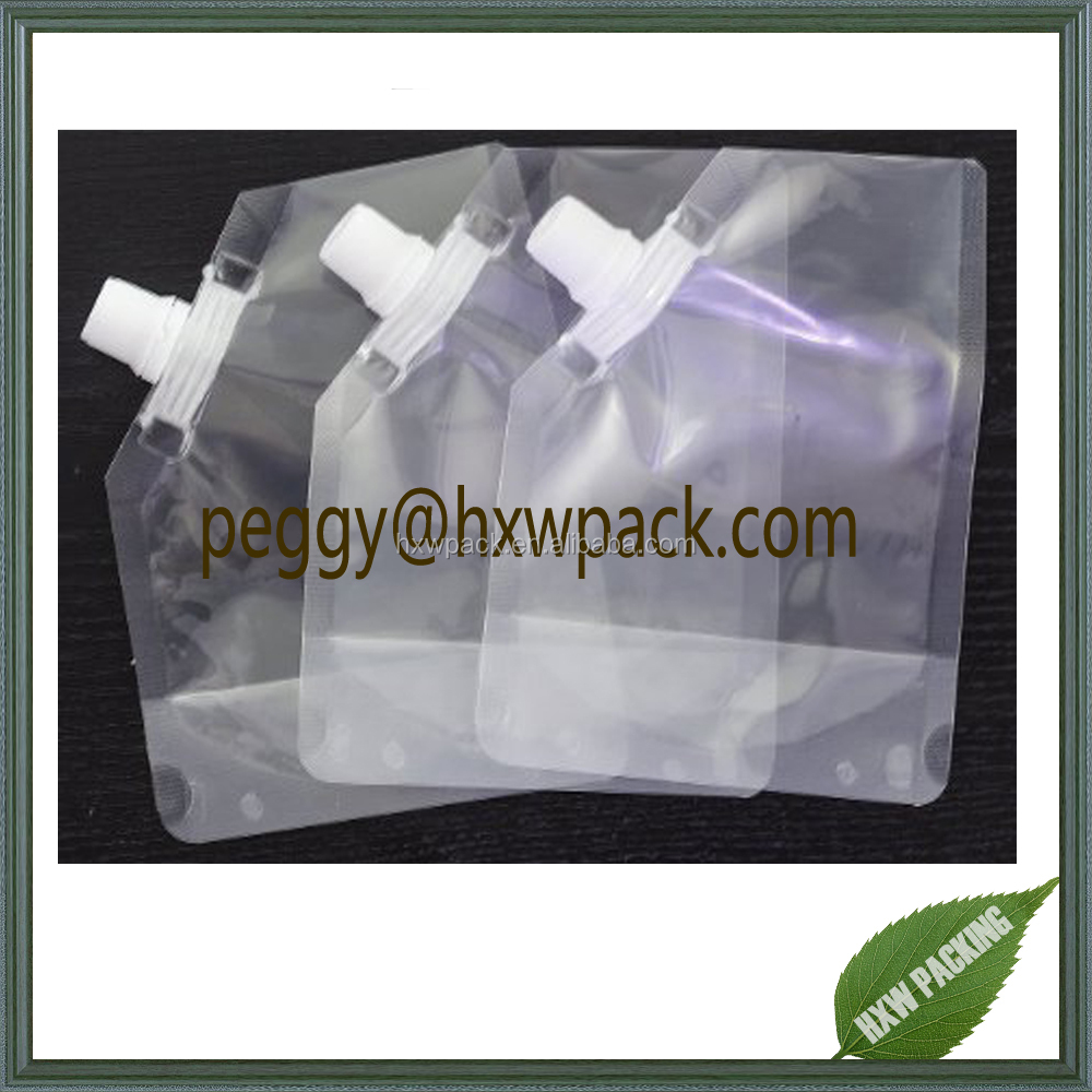 Food grade FDA approved stand-up clear liquid spout pouch/water bag