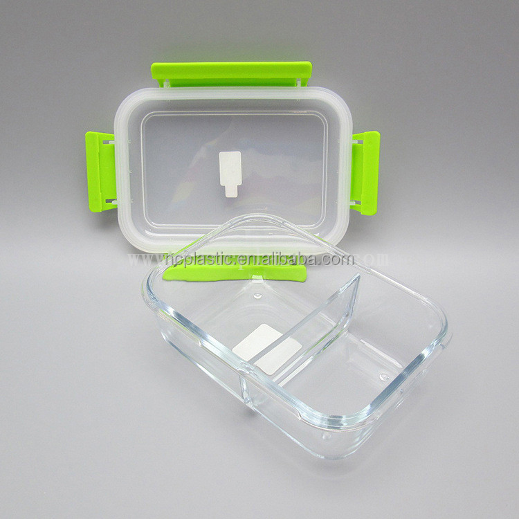2 Compartment Glass Meal Prep Food Storage Containers with Divider
