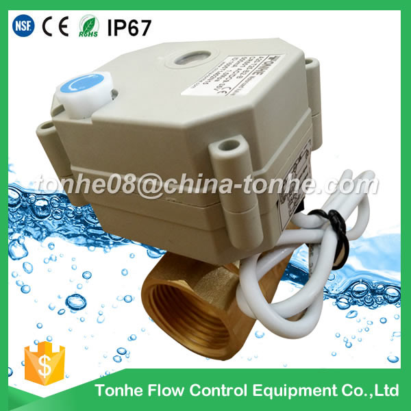 2way 1 inch dn25 Brass DC12/24v with manual override electric motorized motorised ball valve