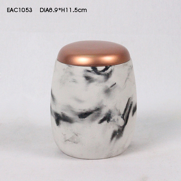 Vintage style concrete candle holders with wooden lid for kitchen candle and home decor