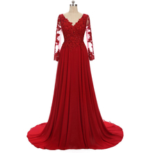 Lace Appliques Long Sleeve Red 2018 Chiffon Plus Size Evening Dress