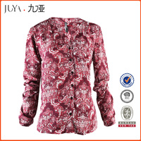 2016 new fashion ladies women long sleeve Paisley print rayon casual blouses
