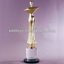 sexy lady metal gold plated award trophy