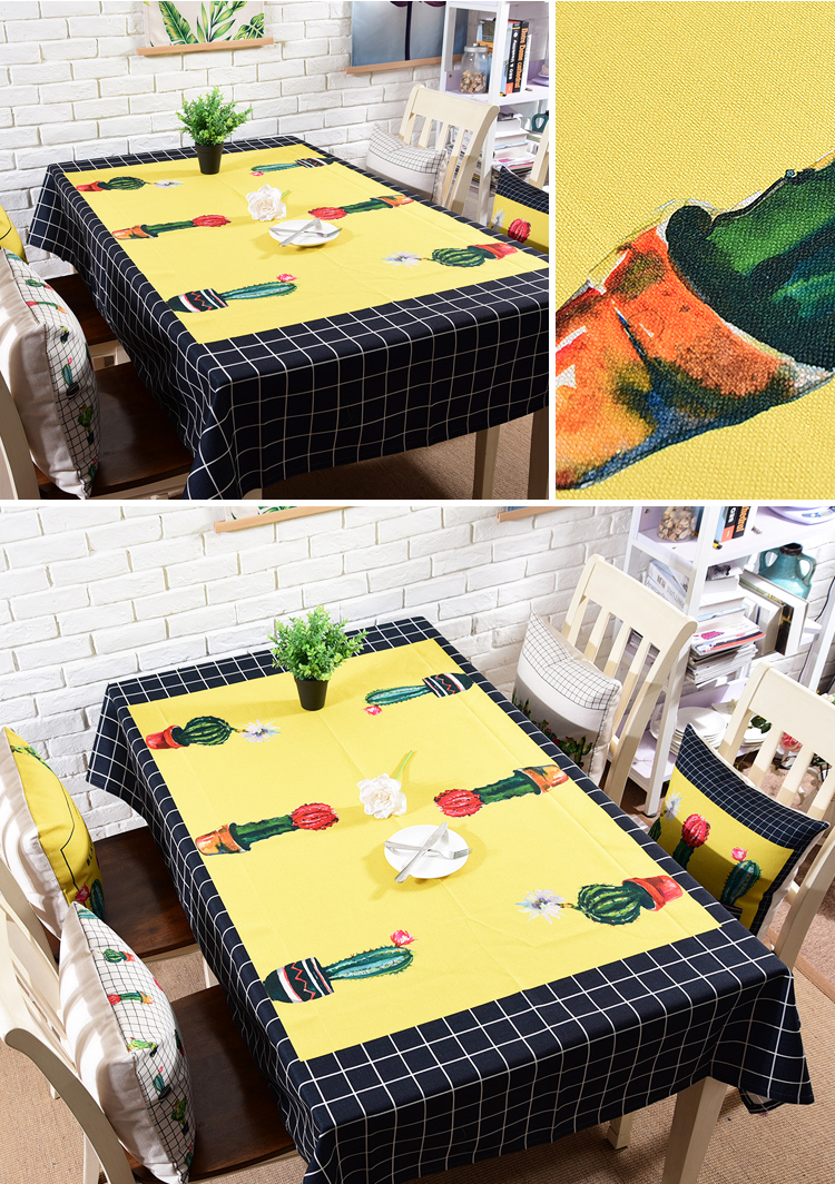 nordic style digital printing linen cotton christmas table cloth