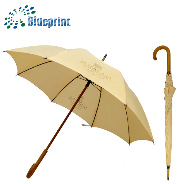 Wooden shaft curved handle manual open custom walking stick umbrella with logo printing