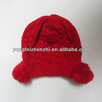 Cute pattern knit hat with pom pom for girl
