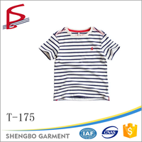 100% cotton printed quality kids short sleeve striped t shirt