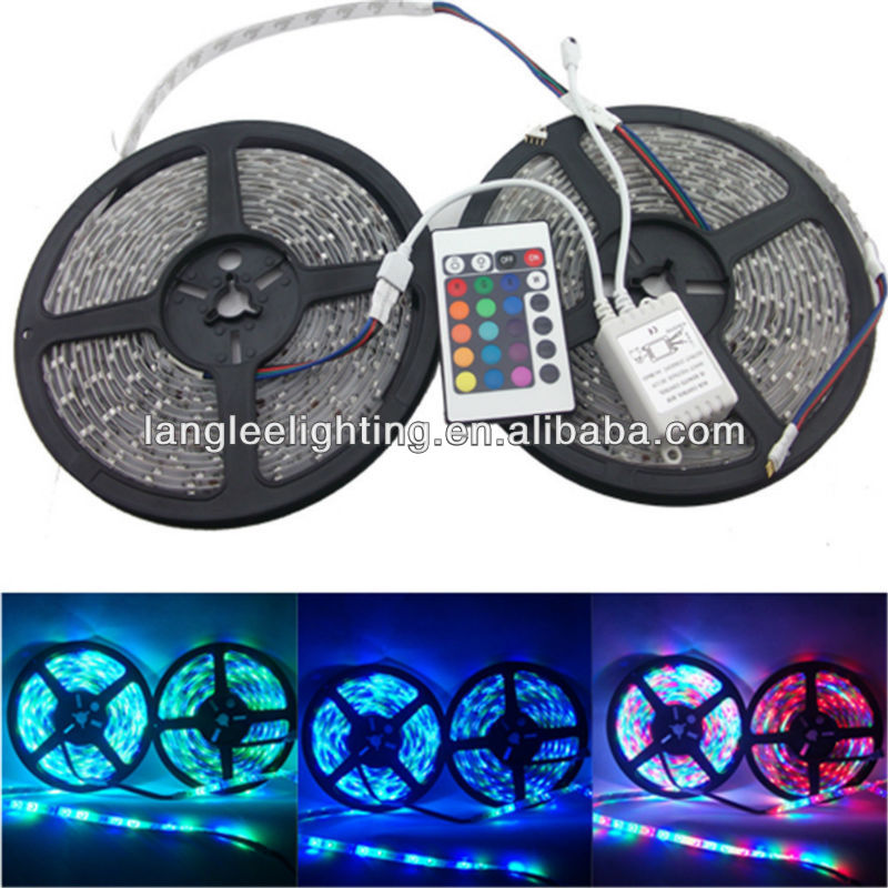 Waterproof 5M RGB 5050 SMD LED Strip Light 300LEDS + IR remote controller 24key