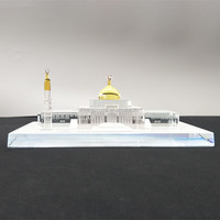 3D crystal glass Mosque building model for Islamic souvenirs