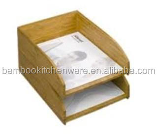 Bamboo stackable documents/file tray