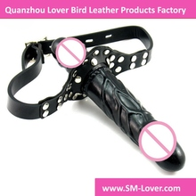 Double Dildo For Lesbian Couples Soft Silicone Realistic Penis Strap On Dildo Adult Sex Toys Products Leather Material Bondage