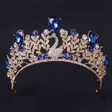 Wedding Hair Accessories Wholesale Fashion Gold Hair Jewelry Sapphire Crystal Wedding Bridal Tiara