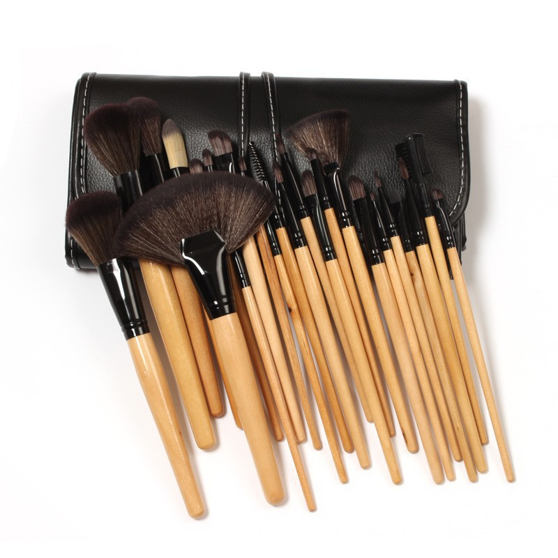 24Pcs Professional Makeup Brush Cosmetic Tool Kit Natural Mood Eyeshadow Brushes For Make Up Set High Quality With Leather Bag