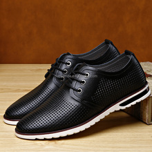 Summer new hollow out men casual sandals Genuine leather ventilate thin shoes