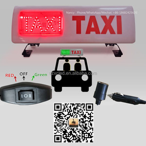 Car Roof Waterproof IP65 Plastic Case Red Green Wired Switch Change Color Cigar Lighter Power LED Taxi Sign Board