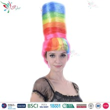 Styler Brand china supplier 10 inch crazy wig styles synthetic colorful curly wig multi color wigs