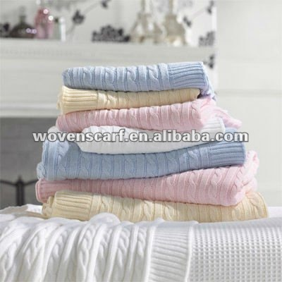 Softtextile cotton baby blanket, cable knitted baby blanket