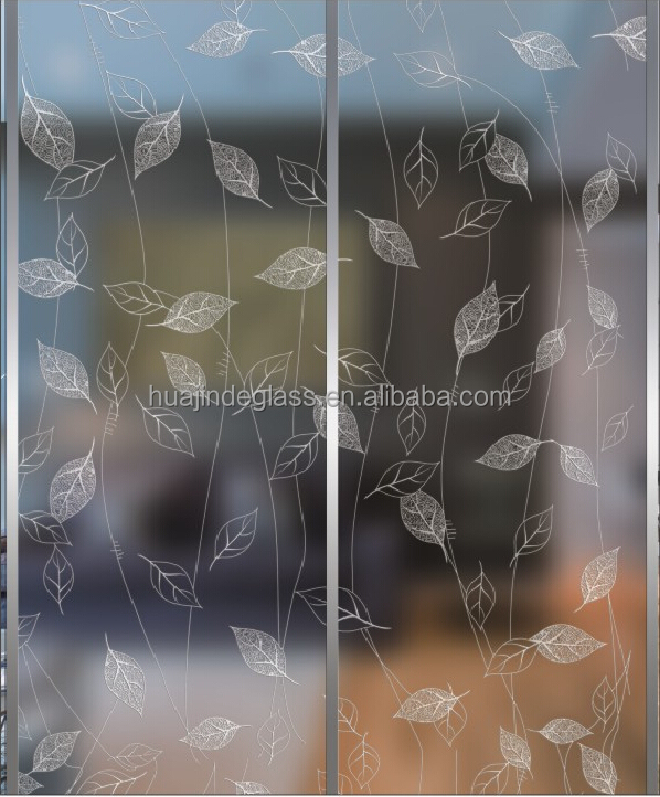 Acid etched decorative art glass fengye