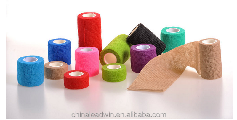 Certificated Non Woven Colorful Self Adhesive Elastic Bandage For People And Pet Use