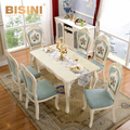 Bisini Luxury Hand Carved Dining table set, European Solid Wooden French Dining Table with 6 Chairs BF08-10011